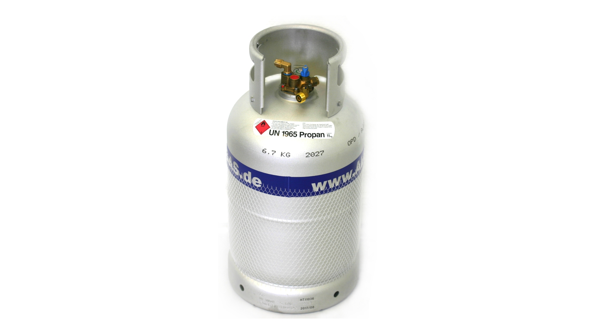 ALUGAS Travel Mate gas cylinder 27 litres with 80% multivalve