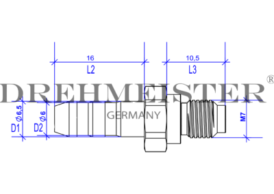 Technical drawing of a DREHMEISTER injection nozzle for Lovato injectors