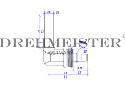 Technical drawing of an 8mm DREHMEISTER 90° angle piece pipe socket for a 8mm flexible gas hose