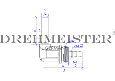 Technical drawing of a 6mm DREHMEISTER 90° angle piece pipe socket for a 6mm flexible gas hose