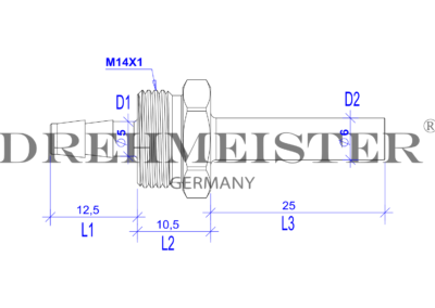 Technical drawing of a DREHMEISTER 6 mm nipple for a 6mm flexible gas hose