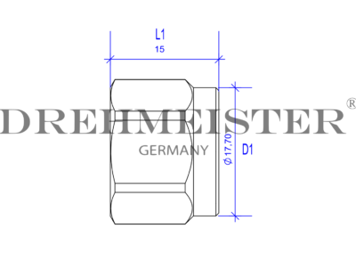 Technical drawing of a DREHMEISTER union nut M16x1 for an 8mm flexible gas hose