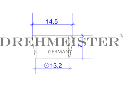 Technical drawing of a DREHMEISTER cutting ring for an 8mm flexible gas hose